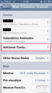 Adicionar nova conta - iPhone